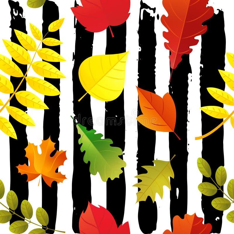 Modèle sans couture de feuilles d'automne d'isolement sur le fond peu précis Style plat de chute de bande dessinée colorée de feu illustration de vecteur