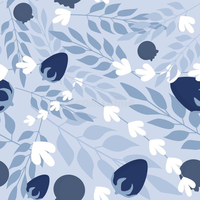 Modèle sans couture de feuilles de fines herbes d'hiver et de baies sauvages illustration libre de droits