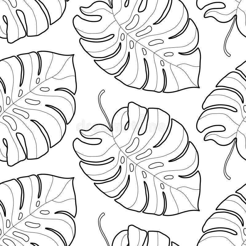 Modèle sans couture de feuilles tropicales graphiques noires et blanches images libres de droits