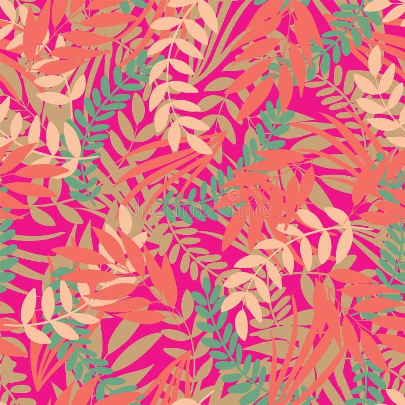 Modèle sans couture de feuilles tropicales de vecteur sur le fond rose lumineux illustration stock