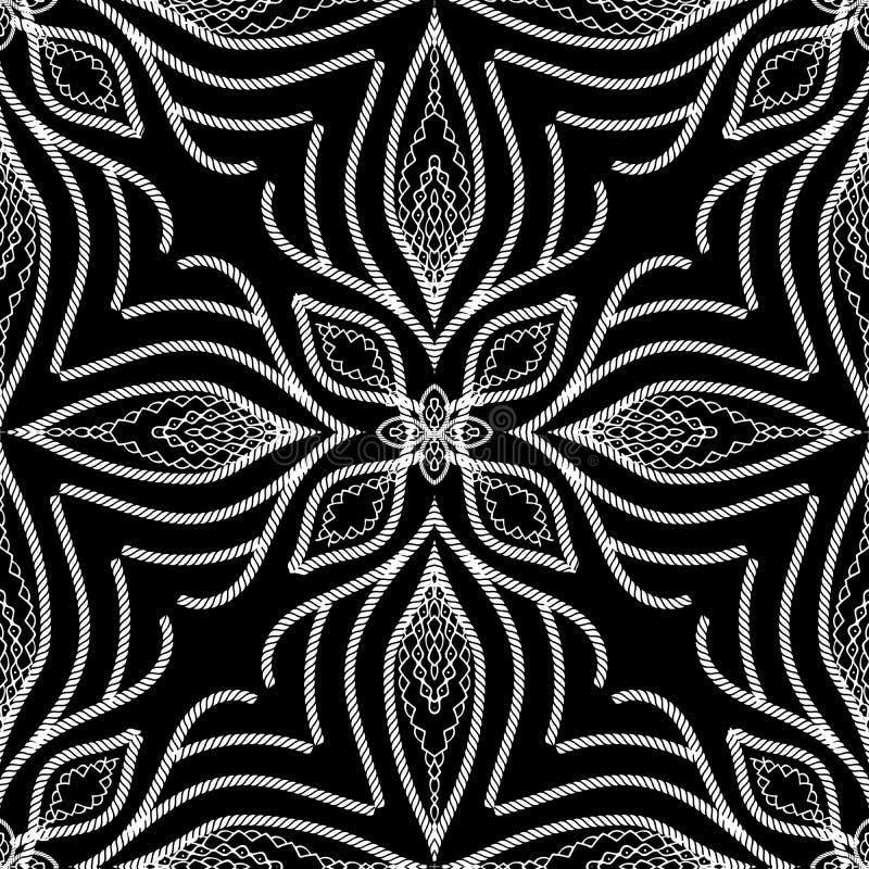 Modèle sans couture de ficelles florales de vintage Blac modelé par résumé illustration stock