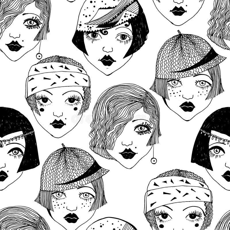 Modèle sans couture de filles d'aileron des femmes 1920 du ` s illustration de vecteur