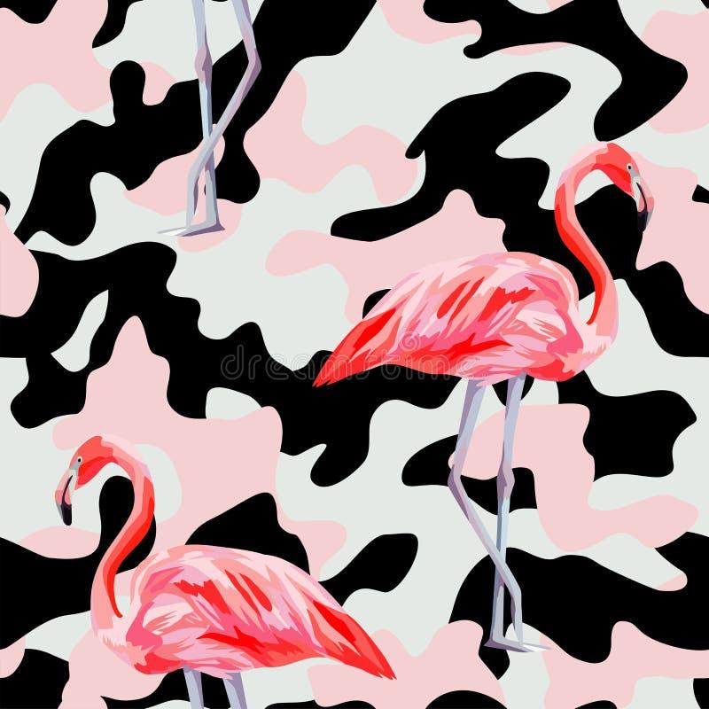 Modèle sans couture de flamant rose de camo illustration de vecteur