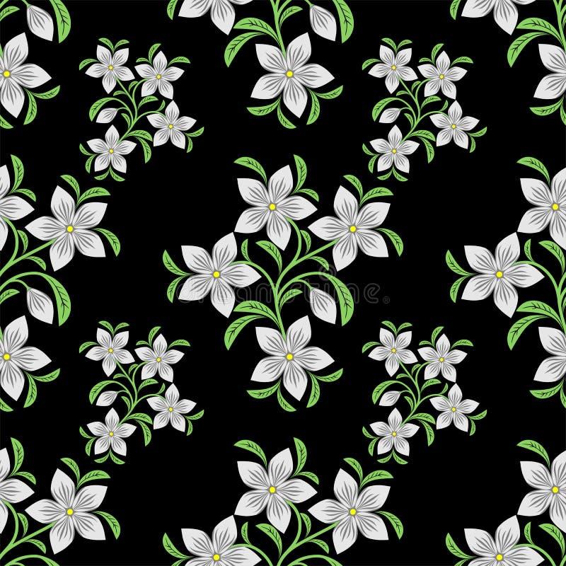 Modèle sans couture de fleur avec les fleurs blanches illustration libre de droits