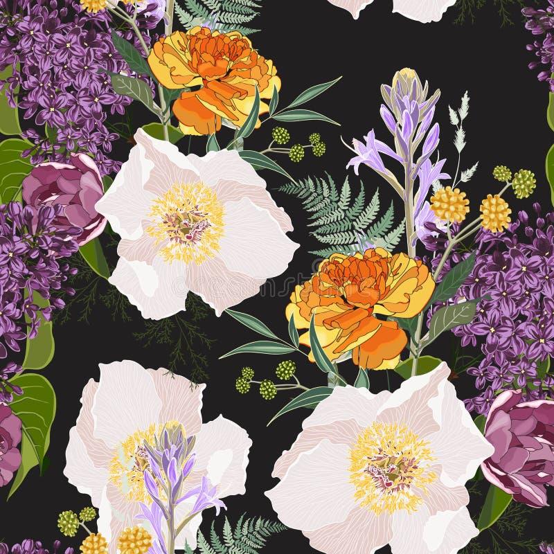 Modèle sans couture de fleur avec les roses et la pivoine sauvages tirées par la main de flore illustration de vecteur