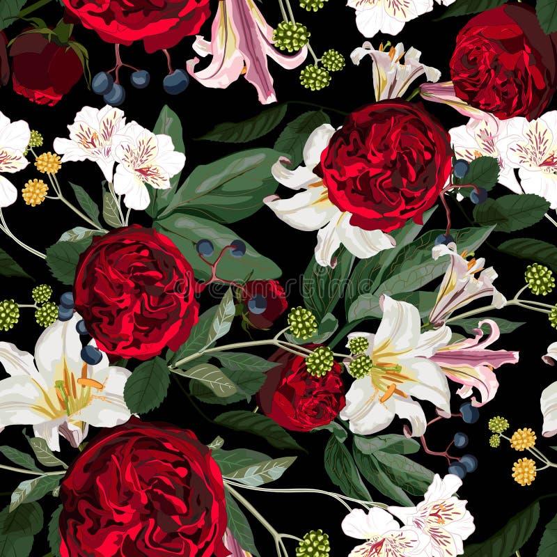 Modèle sans couture de fleur avec les roses sauvages tirées par la main de flore et les lis blancs illustration stock