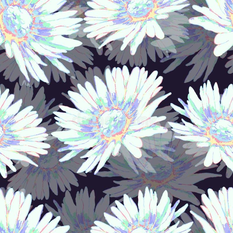 Modèle sans couture de fleur de camomille, fond floral de vecteur Fleurs blanches et multicolores avec des pétales sur le context illustration libre de droits