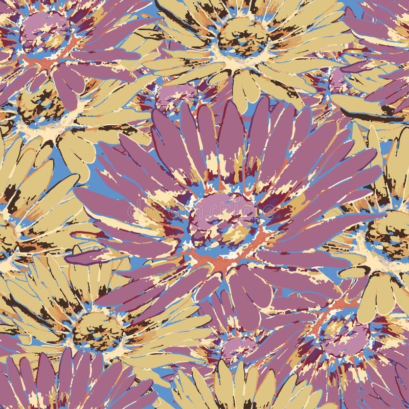 Modèle sans couture de fleur de camomille, fond floral de vecteur Fleurs pourpres, jaunes et multicolores avec des pétales sur le illustration stock
