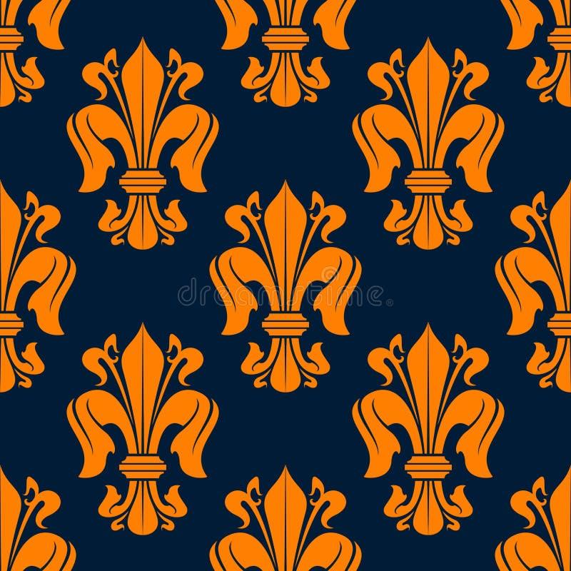 Modèle sans couture de fleur de lis avec les lis oranges illustration stock