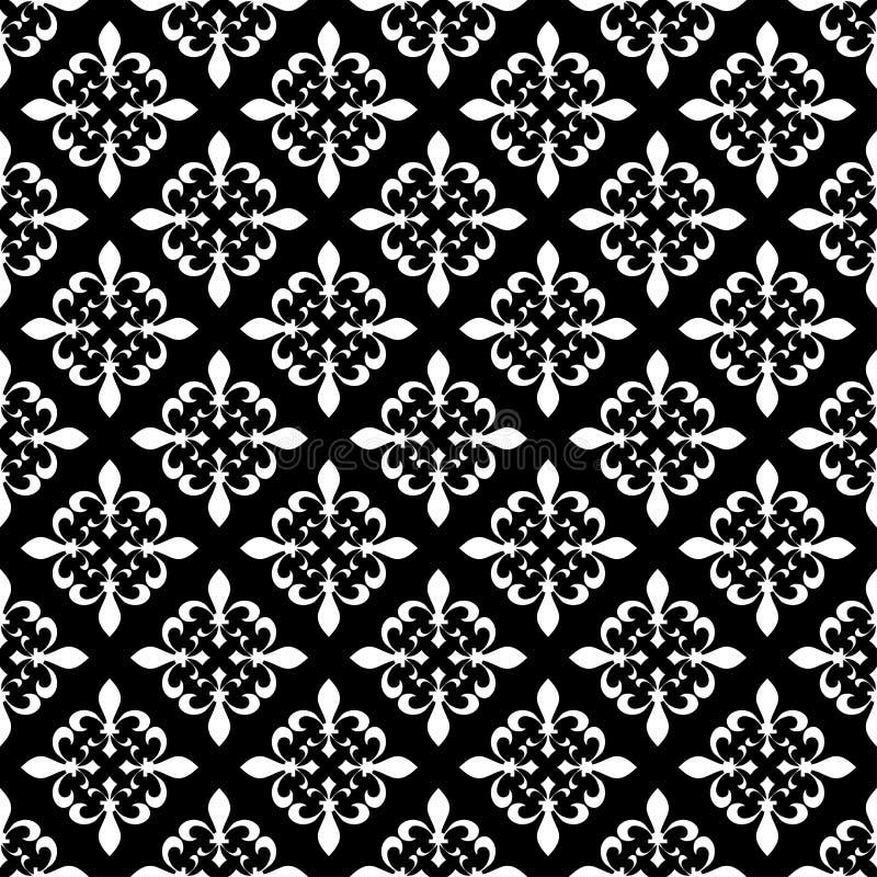 Modèle sans couture de fleur de lis Illustration de vecteur Calibre blanc noir Texture florale Décoration élégante, rétro CCB de  illustration de vecteur