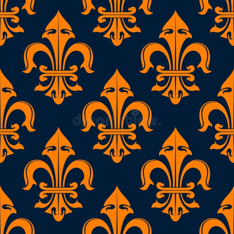 Modèle sans couture de fleur de lis orange et bleue illustration de vecteur