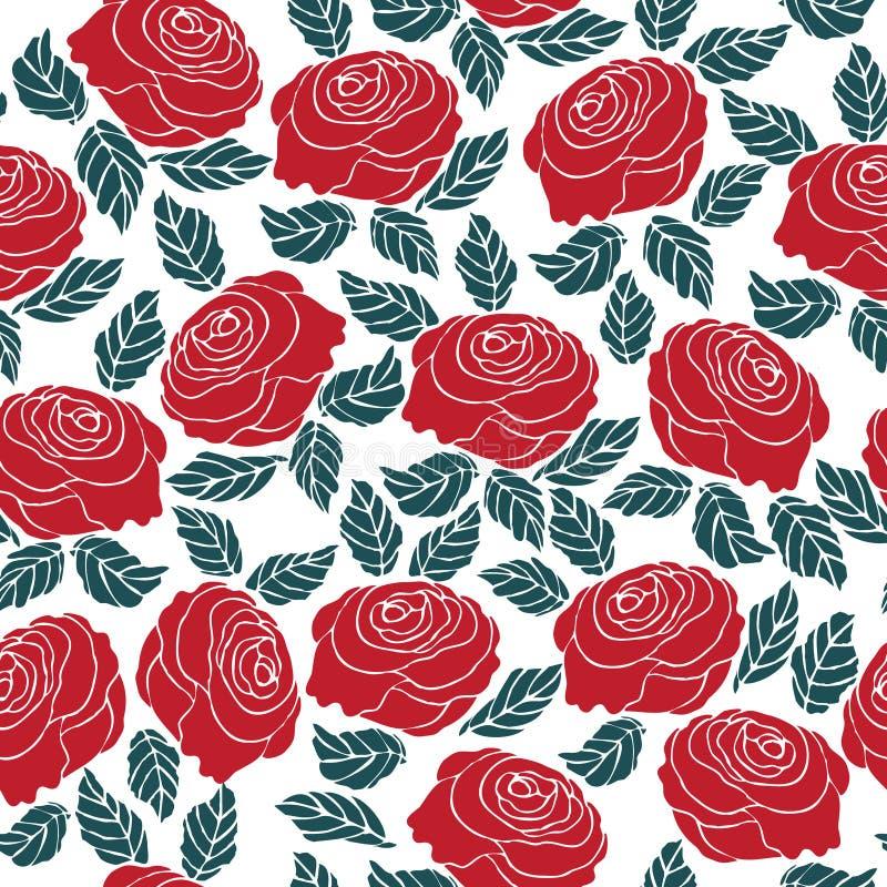Modèle sans couture de fleur de rose de rouge illustration de vecteur