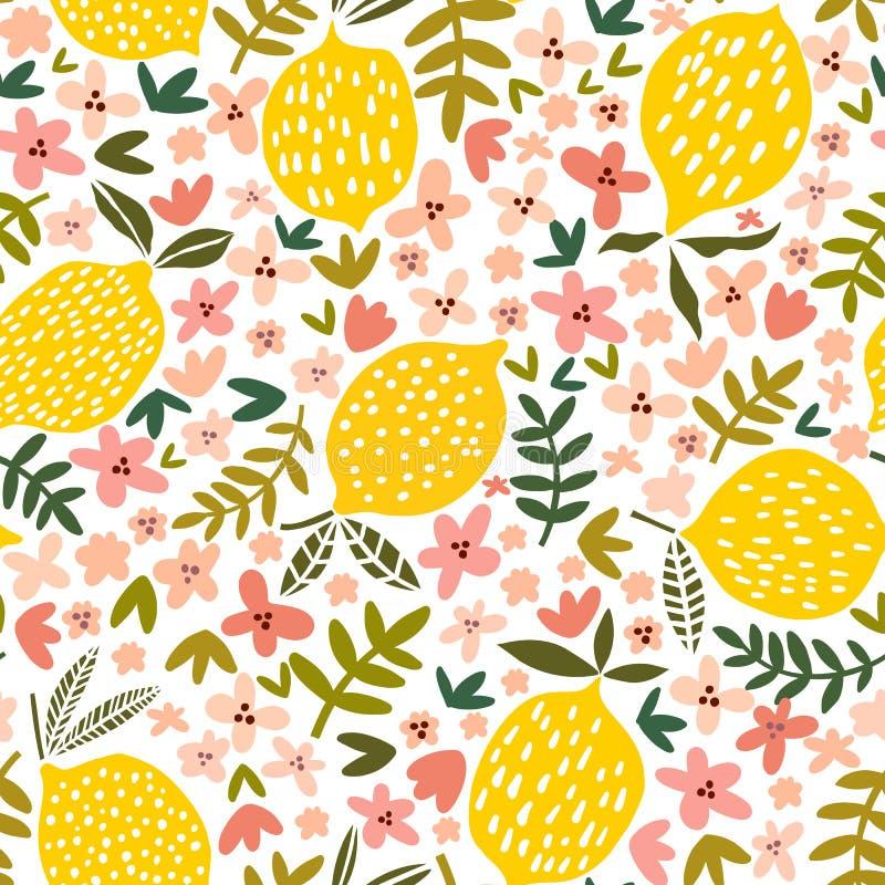 Modèle sans couture de fleur et de citron de vecteur illustration libre de droits