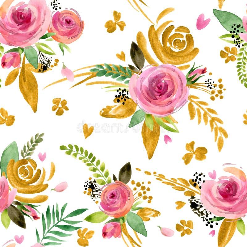 Modèle sans couture de fleur Fond de fleur de roses Configuration florale illustration stock