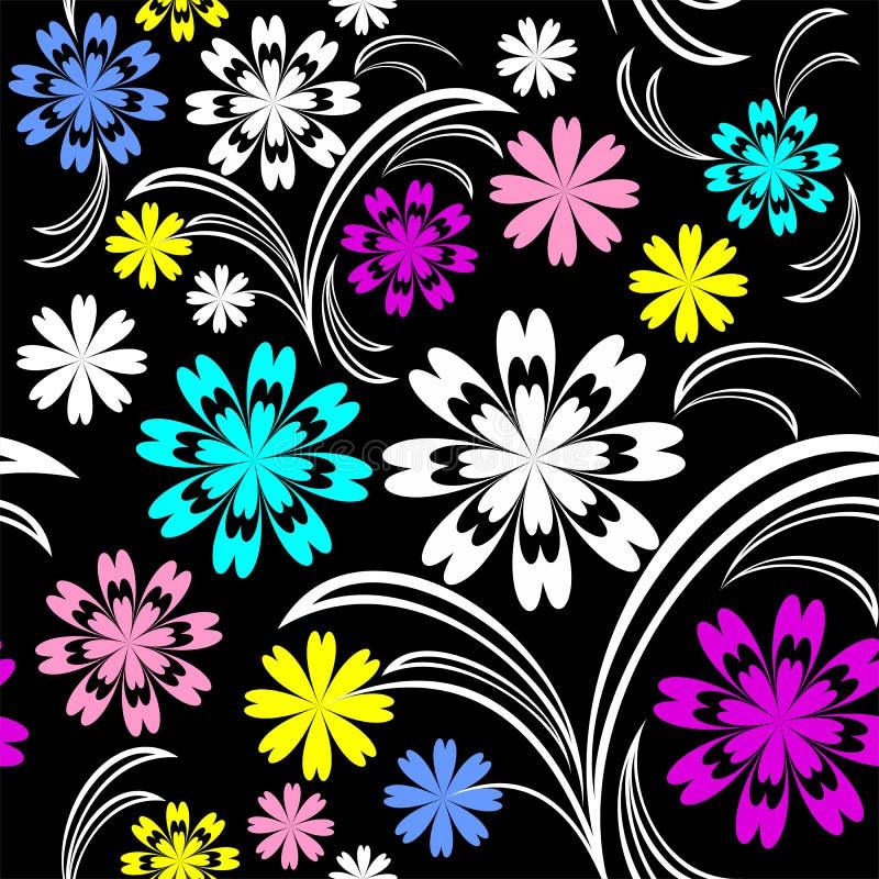 Modèle sans couture de fleur lumineuse avec les fleurs colorées sur le noir. illustration stock