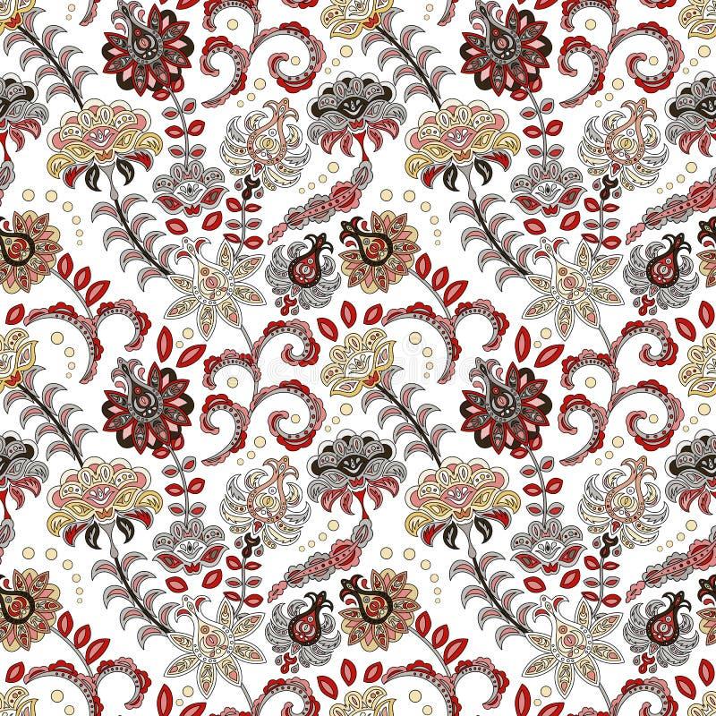 Modèle sans couture de fleur tirée par la main Modèle sans couture coloré avec des fleurs et des feuilles d'imagination Gribouill illustration stock