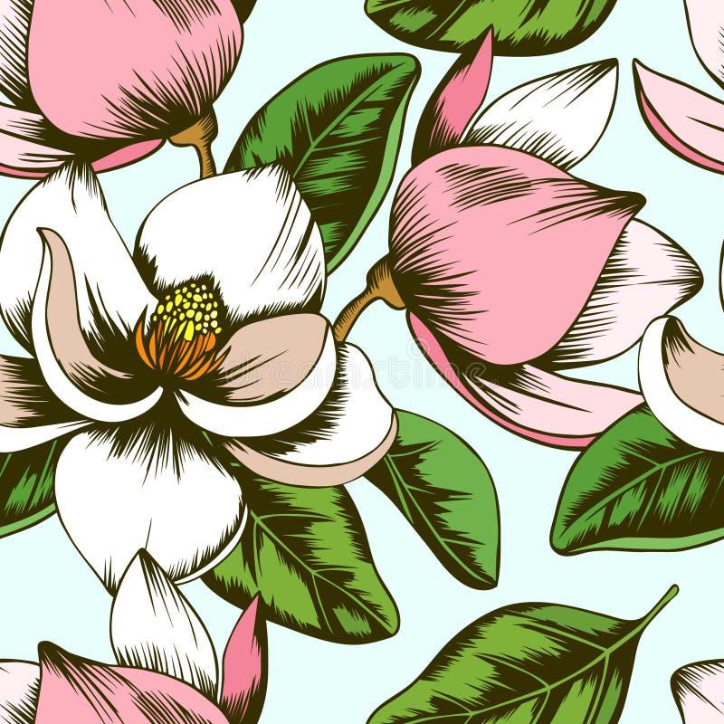 Modèle sans couture de fleurs blanches et roses de magnolia illustration stock