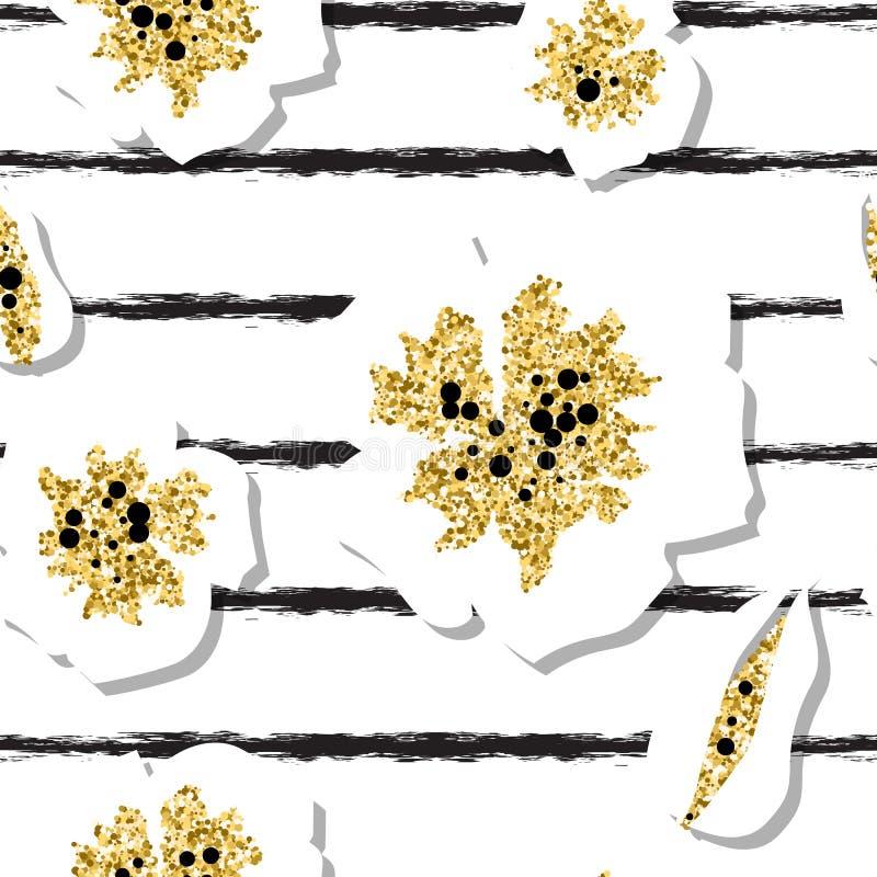 Modèle sans couture de fleurs de cerisier d'or avec le fond rayé illustration de vecteur