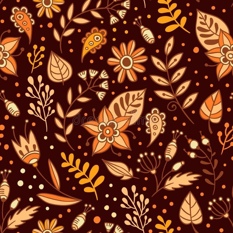 Modèle sans couture de fleurs et d'herbes Fond floral avec orange, beige et feuilles et usines de brun Été tiré par la main ou illustration stock