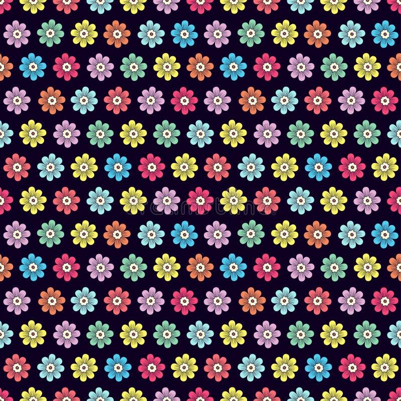 Modèle sans couture de fleurs de griffonnage, fond floral coloré Bourgeon simple multicolore avec des pétales sur le contexte ble illustration de vecteur