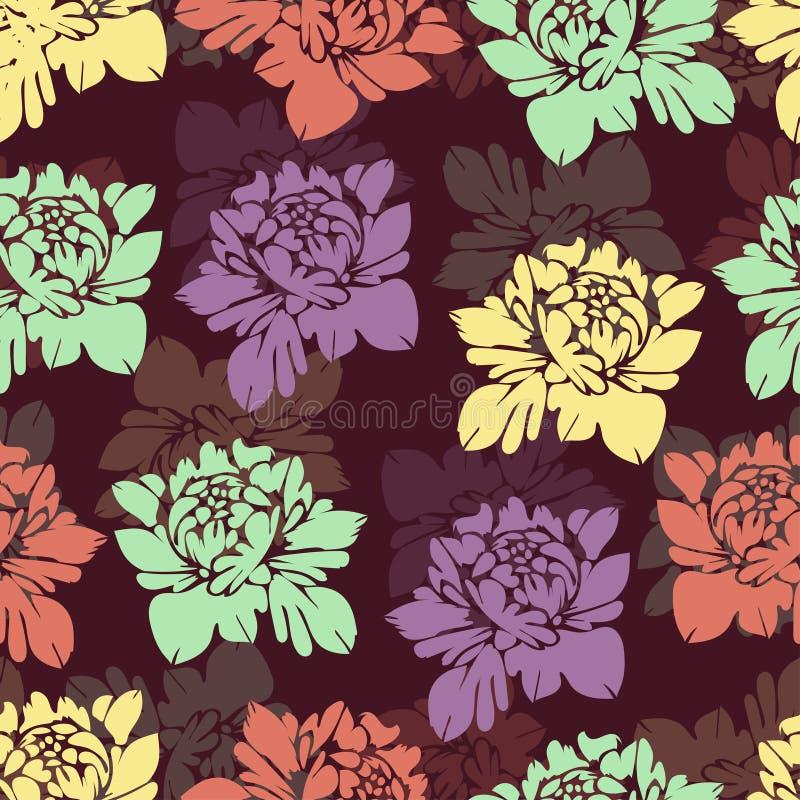 Modèle sans couture de fleurs multicolores abstraites Fond floral de cru Bourgeons multicolores sur un Bourgogne Pour la concepti illustration de vecteur