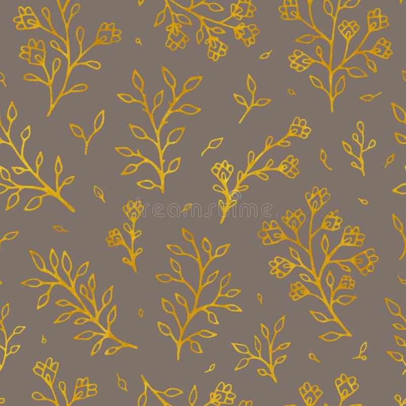 Modèle sans couture de fleurs de trame folklorique de cru Fond tiré par la main de brun floral ethnique de motif Découpe d'or illustration stock