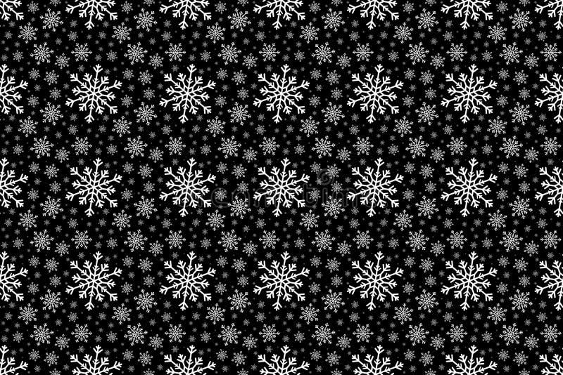 Modèle sans couture de flocon de neige blanc d'hiver sur le fond noir illustration libre de droits