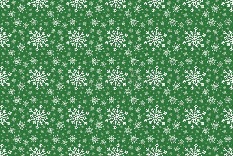 Modèle sans couture de flocon de neige blanc d'hiver sur le fond vert illustration libre de droits