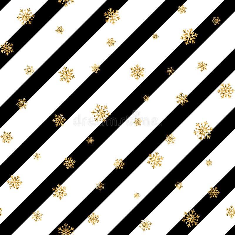 Modèle sans couture de flocon de neige d'or de Noël Les flocons de neige d'or sur la diagonale noire et blanche raye le fond Neig illustration de vecteur