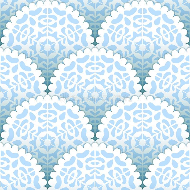 Modèle sans couture de flocons de neige de papier de napperons de Noël dans bleu et blanc, vecteur illustration stock