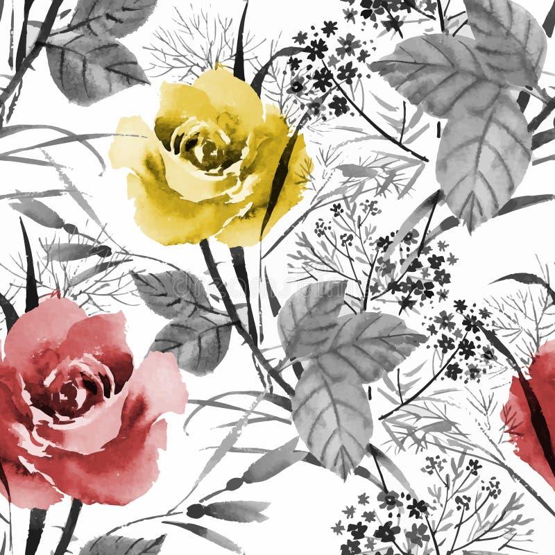 Modèle sans couture de floraison de fleurs de beau d'aquarelle jardin d'été illustration libre de droits