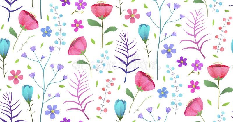 Modèle sans couture de floraison de fleurs d'été tropical de pavots illustration libre de droits