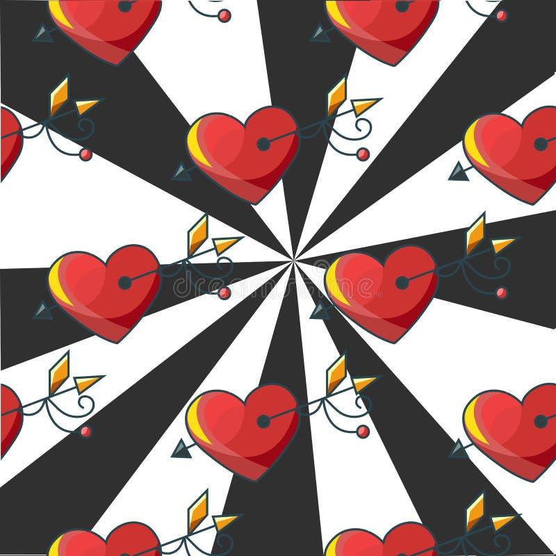 Modèle sans couture de fond avec une cible des coeurs rouges percés illustration libre de droits