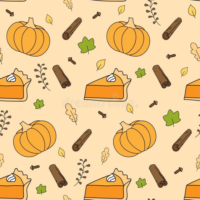 Modèle sans couture de fond d'automne mignon avec le potiron, les feuilles en baisse, le tarte de potiron et les épices illustration stock