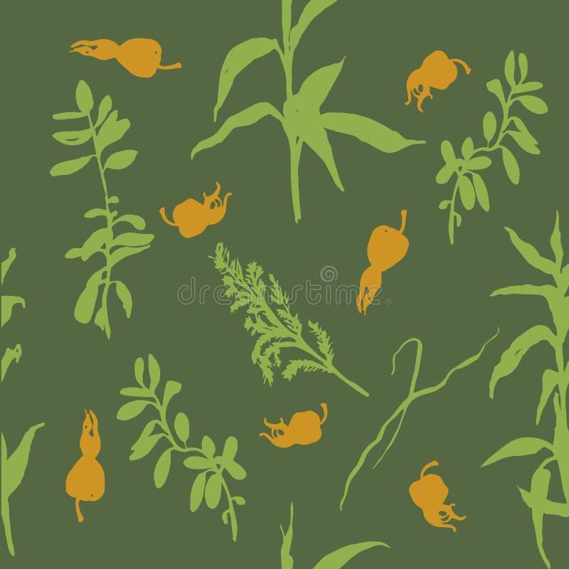 Modèle sans couture de fond d'herbes et de cynorrhodons de forêt illustration stock