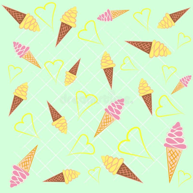 Modèle sans couture de fond de cornets de crème glacée illustration stock
