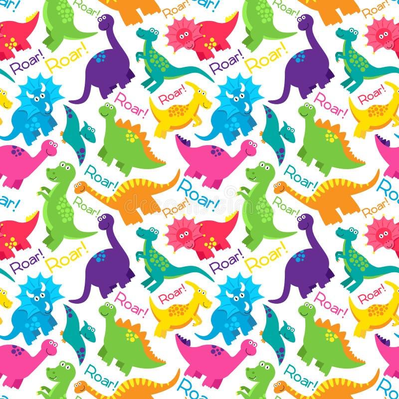 Modèle sans couture de fond de vecteur de Tileable de dinosaure illustration stock