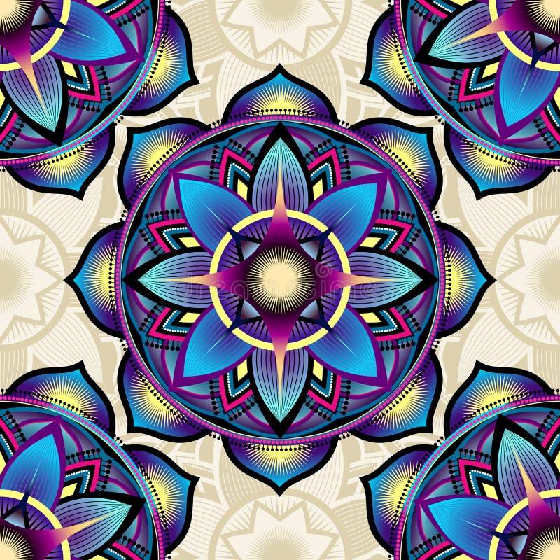 Modèle sans couture de fond des symboles de mandala illustration de vecteur