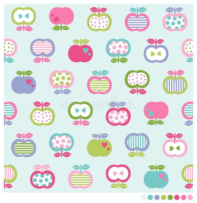 Modèle sans couture de fond de pommes illustration stock