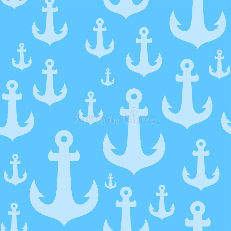 Modèle sans couture de fond de vecteur avec des ancres sur le contexte bleu illustration stock