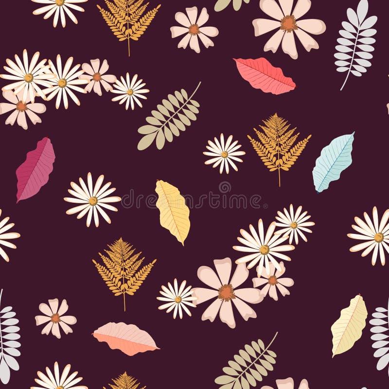 Modèle sans couture de fond de vintage avec des feuilles d'automne, des fleurs, la fougère et des herbes illustration stock