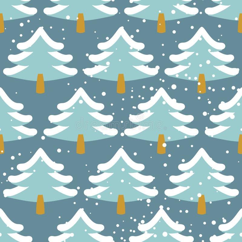 Modèle sans couture de forêt d'hiver Arbre de Noël dans la neige Texture illustration stock