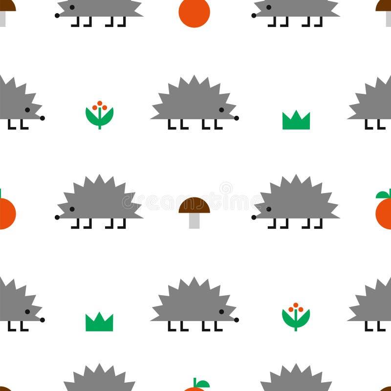 Modèle sans couture de forme géométrique coloré par hérisson illustration libre de droits
