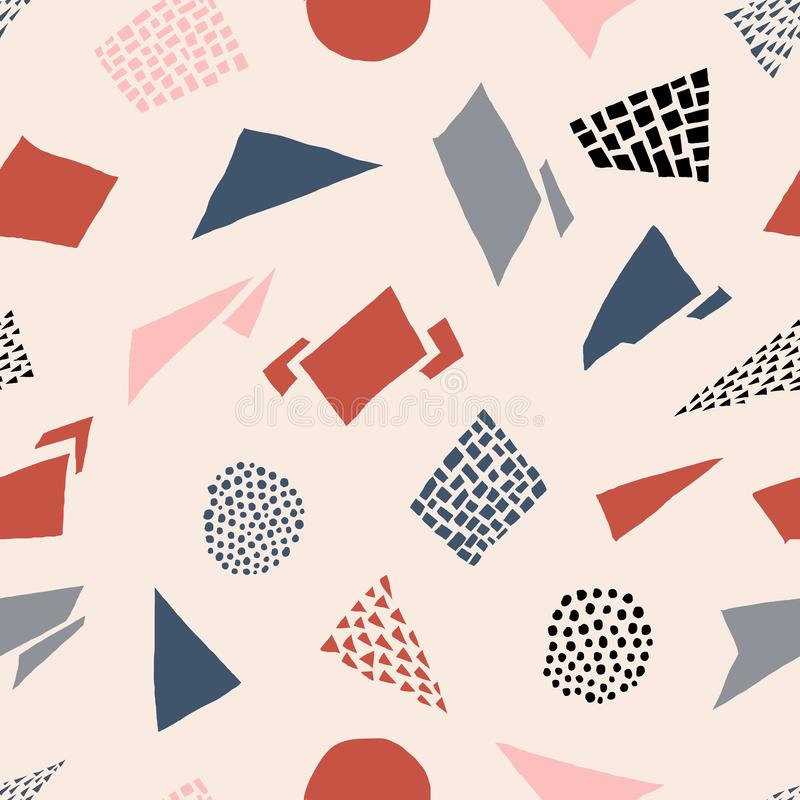 Modèle sans couture de formes tirées par la main abstraites Rétro illustration de vecteur images libres de droits