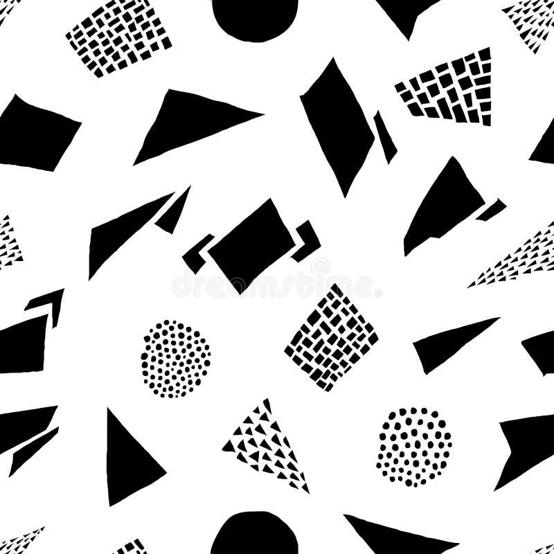 Modèle sans couture de formes tirées par la main abstraites Rétro illustration de vecteur photographie stock