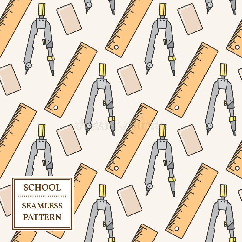 Modèle sans couture de fournitures de bureau d'école ou Ligne mince icône Vect illustration libre de droits
