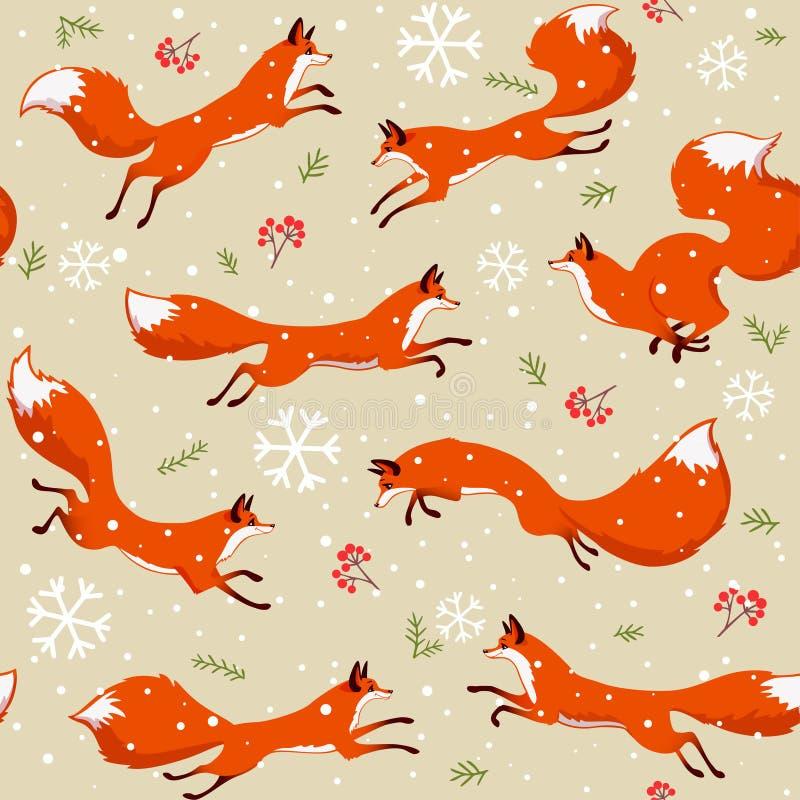 Modèle sans couture de Fox illustration de vecteur