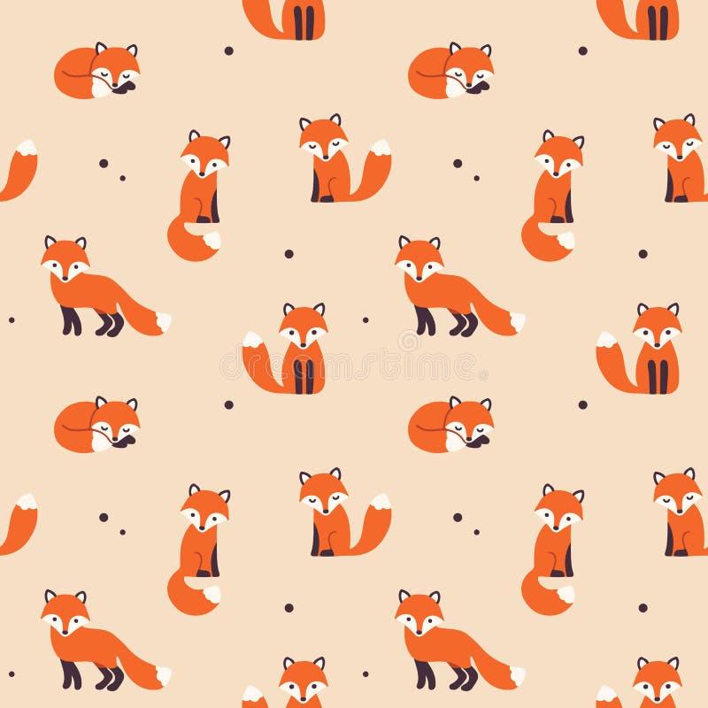 Modèle sans couture de Fox illustration stock