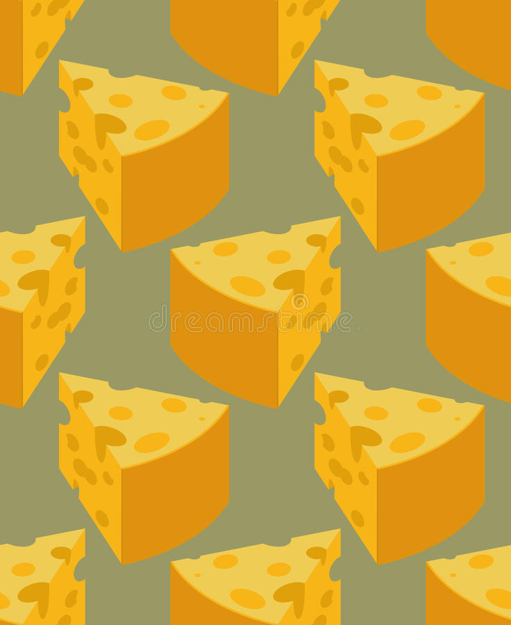 Modèle sans couture de fromage de morceau Texture de produit laitier Nourriture Backgr illustration libre de droits
