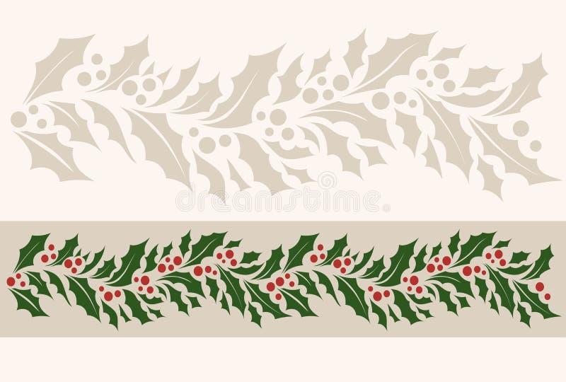 Modèle sans couture de frontière horizontale avec le houx de Noël illustration libre de droits